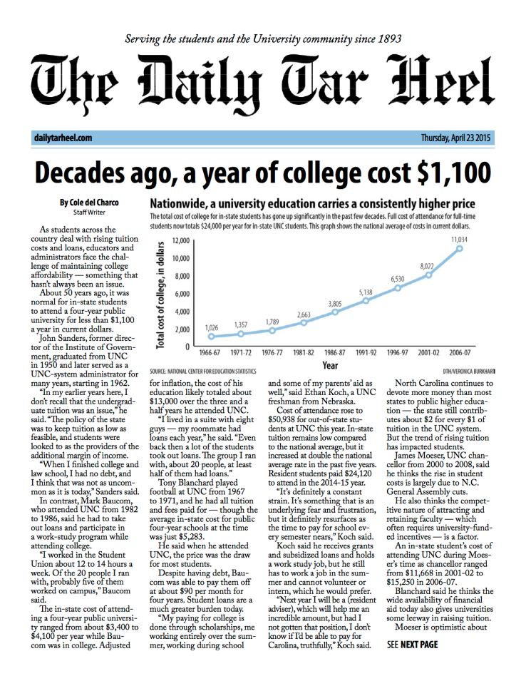 Decades ago, a year of college cost $1,100