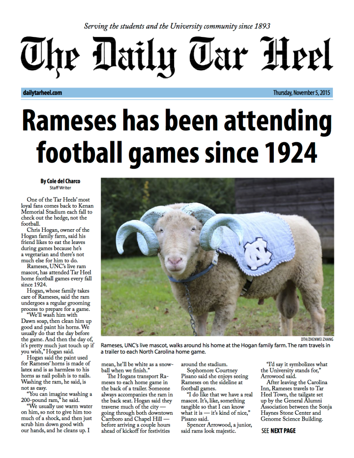 Front Ramses has been attending football games since 1924