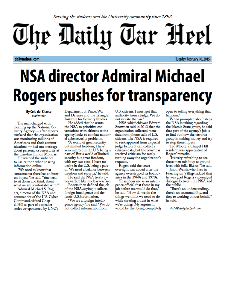 NSA director Admiral Michael Rogers pushes for transparency