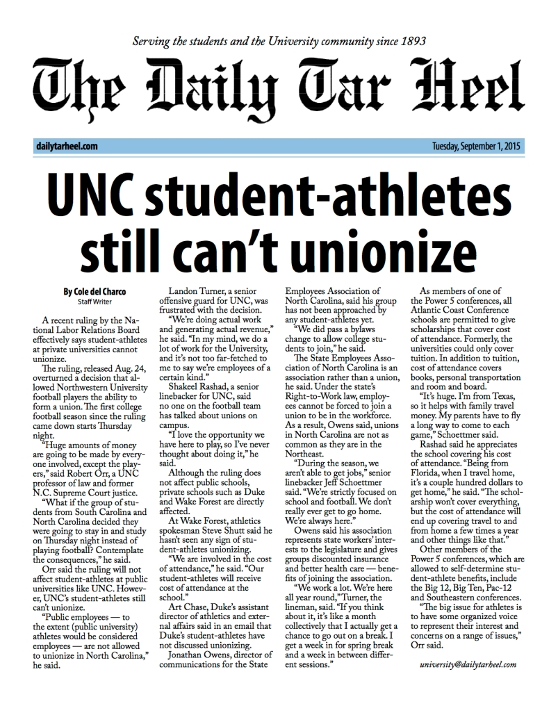 UNC student-athletes still can't unionize